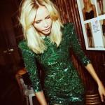 robe à sequins vert sapin brille