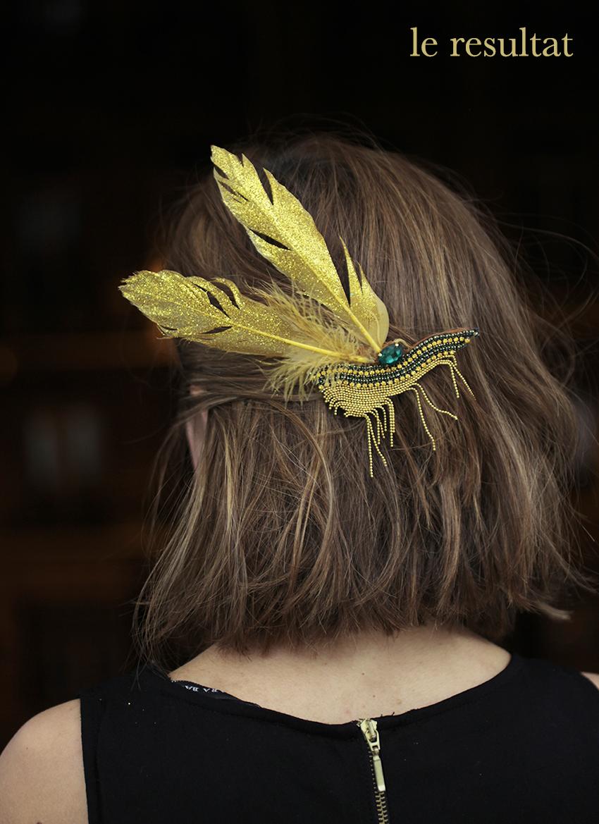 tutoriel bijoux cheveux glitter doré