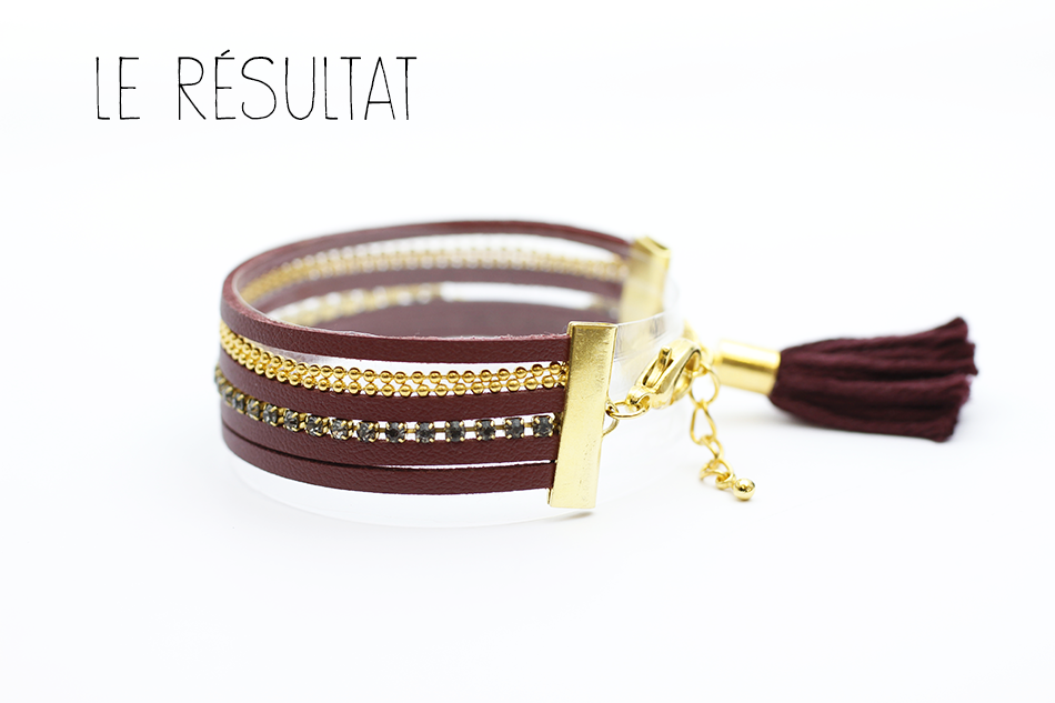tutoriel bracelet cordon bordeaux